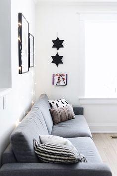 Scandinavian living room grey sofa with Christmas stars Christmas Stars, Christmas Holidays, Gray Sofa, Scandinavian Living, Living Room Grey, Happy, Blog, Crafts, Home Decor