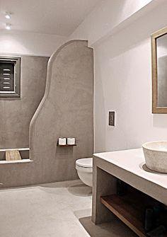 Rustic Bathroom Designs, Bathroom Interior Design, Home Room Design, House Design, Tadelakt, Spa Rooms, Bathroom Floor Tiles, Home Upgrades, Living Room With Fireplace