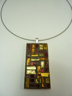 mosaic red and gold pendent di MOSAICANDARTS su Etsy