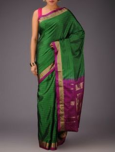 Green-Fuschia Kanjivaram Silk Saree