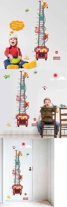 [Visit to Buy] Fire Truck Aerial Ladder Height Measurement Wall Sticker Kids Boys Room Nursery Growth Chart Wall Decal Cartoon Animal Wallpaper #Advertisement