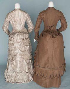 1880's brown wool/silk and taffeta, back view.