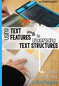 Using Text Features to Understand Text Structures Understanding an informational text's structure can be hard. Find out how to take advantage of text FEATURES to help understand text STRUCTURE. (The Thinker Builder) Reading Lessons, Reading Skills, Teaching Reading, Teaching Ideas, Guided Reading, Math Lessons, Reading Tips, Library Lessons, Reading Resources