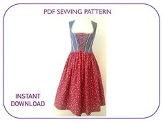 Computer drafted PDF sewing pattern for Dirndl dress. 3 sizes.