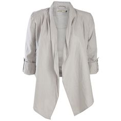 Crafted Linen Waterfall Jacket ($6.56) ❤ liked on Polyvore featuring outerwear, jackets, blazers, tops, womens jackets, waterfall jackets, linen blazer, waterfall blazer, linen jackets and blazer jacket