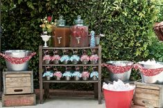 Picnic Style Baby Shower {guest feature} – Celebrations at Home – drink station ideas Bbq Party, Farm Party, Picnic Theme, Picnic Style, Country Picnic, Picnic Parties, Fourth Of July Drinks, 4th Of July Party, July 4th