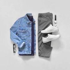 Men Clothing Minimal outfit grids for men. Men ClothingSource : Minimal outfit grids for men. Smart Casual Outfit, Style Casual, Men Casual, Komplette Outfits, Casual Outfits, Fashion Outfits, Fashion Styles, Minimalist Outfit, Minimalist Fashion