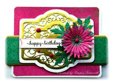Floral Birthday Card, using Sue Wilson French Provence die, Kaisercraft 'Secret Admirer' papers