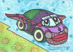 ACEO Original zentangle bug car TW Jul volkswagen bettle with wings P4PMJFF #Miniature