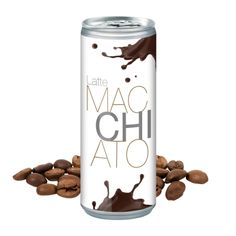 Image of Promotional Latte Macchiato Can – Ice Coffee. With Full Colour Print Iced Tea, Iced Coffee, Latte Macchiato, Giveaways, Promotion, Beer, Canning, Orange, Drinks