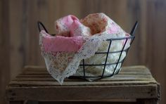 Vintage Newborn Photography Prop Set - Pink Floral Quilt Top & Vintage Lace Piece w/ Black Metal Egg Basket by WallflowerProps on Etsy