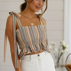 Fashion Women Boho Summer Striped Crop Top Sleeveless Off shoulder Vest Ruffles Bandage Tank Ladies tunique femme Streetwear Striped Top Outfit, Striped Crop Top, Cute Summer Outfits, Cute Outfits, Outfit Summer, Girls Fashion Clothes, Fashion Outfits, Fashion Women, Crop Top Outfits