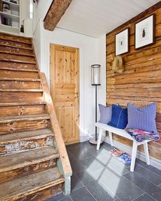 fun entry way/mudroom idea. high pictures...hang hats/coats underneath