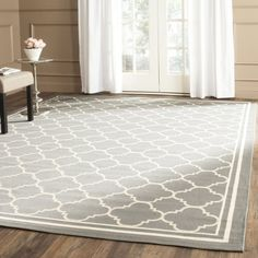 """Amazon.com: Safavieh Courtyard Collection CY6918-246 Anthracite and Beige Indoor/ Outdoor Square Area Rug (7'10"""" Square): Kitchen & Dining"""