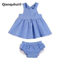 Qianquhui 2017 Summer Girl Blue Lattice Dress + Trousers Suit Sleeveless Lace Cotton Material Baby Girl Clothes For Newborns