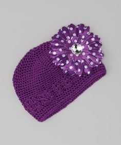 Take a look at this Purple Polka Dot Flower Knit Beanie by A Little Annafaith on #zulily today!