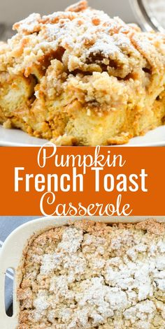 Pumpkin French Toast Casserole is an easy overnight casserole breakfast recipe. - Pumpkin French Toast Casserole is an easy overnight casserole breakfast recipe. It's a favorite f - Breakfast And Brunch, Pumpkin Breakfast, Breakfast Bake, Blueberry Breakfast, Mexican Breakfast, Breakfast Bowls, Pumpkin French Toast, French Toast Bake, Baked French Toast Overnight
