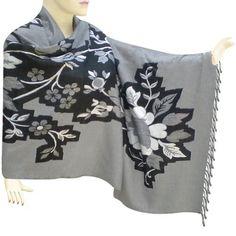Reversible Black And White Cotton Stole In Self Flower Design - stle0159rr Royal Kraft. $60.00