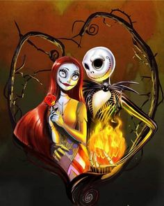 Sally and Jack Skellington of Halloween Town from The Nightmare Before Christmas Tim Burton Art, Tim Burton Films, Halloween Art, Vintage Halloween, Halloween Witches, Happy Halloween, Halloween Decorations, Mister Jack, Jack Und Sally