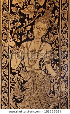 stock photo : Gold buddhist angel painting on Thai temple wall