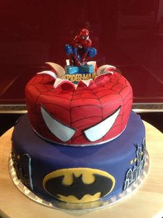 Spiderman and Batman themed cake by bubakescouk All about