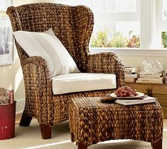 Seagrass Wingback Armchair #potterybarn, with slipcover club chairs in Morning Rm, coordinates with the seagrass coffee table.