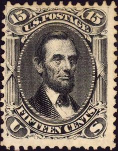 US Stamp 1866 - Abraham Lincoln, 16th US President,1861-1865. The very 1st Lincoln postage stamp issued in 1866.