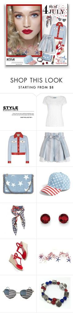 """July 4th Party Shorts Style"" by helenehrenhofer ❤ liked on Polyvore featuring Dorothy Perkins, Alice & You, Fendi, Zimmermann, STELLA McCARTNEY, BP., Gucci, Kevin Jewelers and Lancôme"