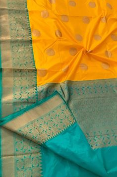 Buy Online Yellow Handloom Banarasi Katan Silk Saree with Floral Design Blue Border Indian Bridal Sarees, Indian Wedding Wear, Wedding Dress Men, Wedding Silk Saree, Indian Silk Sarees, Soft Silk Sarees, Dhoti Saree, Banaras Sarees, Silk Saree Kanchipuram