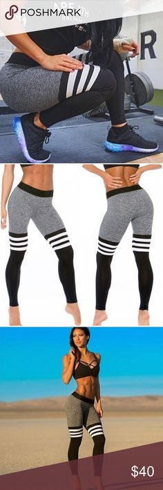 """⭐️HP 1/17⭐️Stylish Yoga/Workout Leggings High waist yoga/workout pants. Colors are black gray and white. Pattern is not printed.   Measures Size is L (can also fit an XL) Waist: 14"""" (stretches to 22"""") Inseam: 27"""" Full Length: 36""""  ▪️NWT (Boutique) ▪️Reasonable Offers Welcomed ▪️Material: Polyester  ▪️Item As Pictured Pants Leggings"""