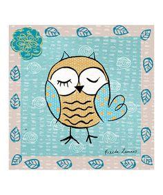 Look what I found on #zulily! Orange Winking Owl Canvas Art #zulilyfinds