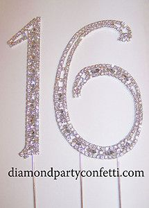 Sweet Sixteen Cake Topper Ideas | ... Silver Crystal Sweet Sixteen 16 Birthday Number Cake Topper | eBay