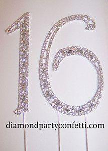 Sweet Sixteen Cake Topper Ideas | ... Silver Crystal Sweet Sixteen 16 Birthday Number Cake Topper | eBay