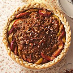 Caramel Apple Pie The topping of oats, oat, brown sugar, and pecans, drizzled with caramel, adds decadence to America's popular pie.