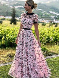 A Line Round Neck Short Sleeves Prom Dresses with Flowers, Flowers Pink Formal Dresses, Graduation Dresses Source by dresses Pink Formal Dresses, Floral Prom Dresses, Unique Prom Dresses, Prom Dresses 2017, Pretty Dresses, Beautiful Dresses, Graduation Dresses, Formal Dresses With Sleeves, Dresses Dresses