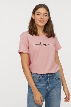 Light Brown Hair Discover T-shirt - Light pink/Love - Ladies Loose Knit Sweaters, H&m Women, Light Brown Hair, Pull On Pants, Pink Love, T Shirts For Women, Clothes For Women, Fashion Company, Rolling Stones
