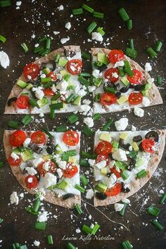 Greek Vegetable Pizza made with #GreekYogurt Tzatziki make the perfect, healthy appetizer for your Superbowl party!