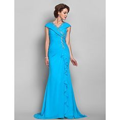 Trumpet/Mermaid V-neck Chiffon Mother of the Bride Dress (612487) – GBP £ 122.77