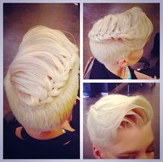 So cute! Braided pomp sort of look! Adorbs.