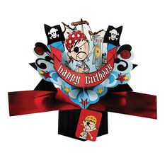 GBP - Pirate Happy Birthday Pop Up Card Design Second Nature Son Brother Friend & Garden Birthday Card Pop Up, Happy Birthday Card Design, 70th Birthday Gifts, Birthday Cards For Mum, Pirate Birthday, Unicorn Birthday Parties, Mother's Day Greeting Cards, Birthday Greeting Cards, Birthday Greetings
