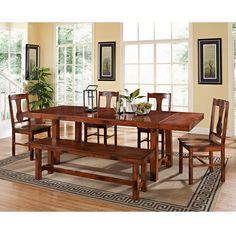 Have to have it. Walker Edison Rocky Hill 6-Piece Solid Wood Dining Set - Dark Oak - $899 @hayneedle