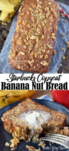 Starbucks copycat banana bread Banana bread is one of my all time favorites! This recipe is moist, and loaded with banana sweetness and topped off with crunchy walnuts. Starbucks Bread Recipe, Starbucks Banana Bread, Starbucks Recipes, Starbucks Breakfast, Coffee Recipes, Gluten Free Banana Bread, Easy Banana Bread, Banana Bread Recipes, Banana Walnut Bread Healthy