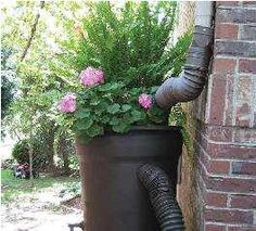 brick wall design with downspout and flower pot
