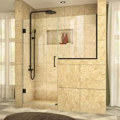 "DreamLine SHDR-24303034 Unidoor Plus 72"" High x 60-1/2"" Wide Hinged Frameless Sh Satin Black Showers Shower Doors Hinged"