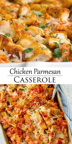 Make this easy Chicken Parmesan Casserole with homemade crispy chicken, frozen chicken tenders, or with leftover rotisserie chicken! Add in some pasta and lots of mozzarella and Parmesan cheese! Easy Casserole Recipes, Crockpot Recipes, Keto Recipes, Keto Casserole, Easy Family Recipes, Simple Chicken Recipes, Best Food Recipes, Simple Food Recipes, Healthy Tasty Recipes