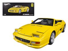 Hot wheels Ferrari F355 Spider Convertible Yellow Elite Edition 1/18 Diecast Car Model by Hotwheels - Brand new 1:18 scale diecast car model of Ferrari F355 Spider Convertible Yellow Elite Edition die cast car by Hotwheels. Has steerable wheels. Brand new box. Rubber tires. Has opening hood, doors and trunk. Made of diecast with some plastic parts. Detailed interior, exterior, engine compartment. Dimensions approximately L-10.5, W-4, H-3.5 inches.-Weight: 4. Height: 8. Width: 15. Box Weight…