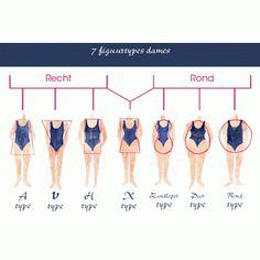 Schema met 7 figuurtypes vrouwen : Op fotopapier weergegeven schetsen Om op te hangen in uw praktijk (excl kader) Om mee te nemen op verplaatsing voor workshops en home party's