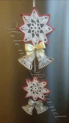 Best 12 ergahandmade: Crochet Snowflake + Free Pattern Step By Step + Diagram – SkillOfKing. Christmas Angel Ornaments, Crochet Christmas Decorations, Crochet Decoration, Crochet Ornaments, Handmade Ornaments, Christmas Bells, Christmas Wreaths, Crochet Snowflake Pattern, Christmas Crochet Patterns