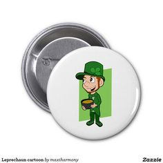 Leprechaun cartoon 2 inch round button