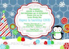 Penguin Candy Land Boy Printable Invite - Dimple Prints Shop